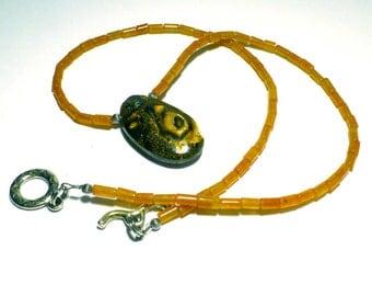 Boulder Opal Necklace Australian Koroit Yowah Necklace with Beautiful Orange Carnelian Tube Beads Handmade by Lisajoy Sachs One of a Kind