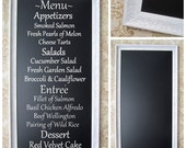 "DECORATIVE FRAMED CHALKBOARD For Sale White Framed Huge 53""x29"" AnY CoLOR Floral Flowered Black board Wedding French Country Long Chalkboard"