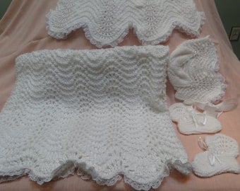 CHRISTENING OUTFIT, White, baby layette, hand knitted, dress, hat and booties and blanket, trimmed with white lace