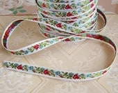 Vintage Woven Jacquard Ribbon Red Rose Buds Blue Flowers – 2 Yards