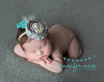 Sunshine On A Cloudy Day- grey yellow and aqua singed satin and rosette headband with feathers