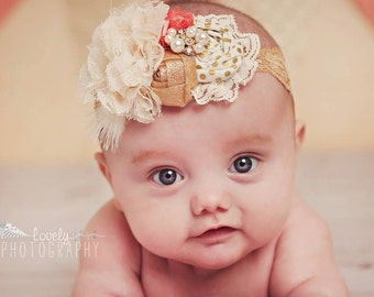 Go For the Gold- gold coral and ivory rosette and flower headband