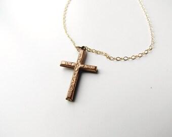 Vintage Gold Filled Cross Necklace c.1940s