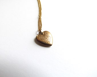 Antique Puffed Heart Charm With Engraved Monogram DLB c.1800s