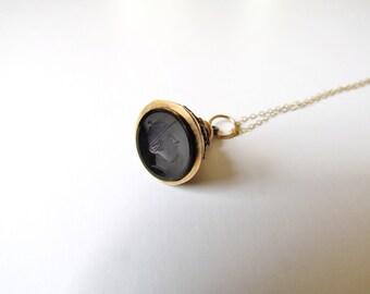 Antique Victorian Fob Necklace With Black Intaglio c.1880s