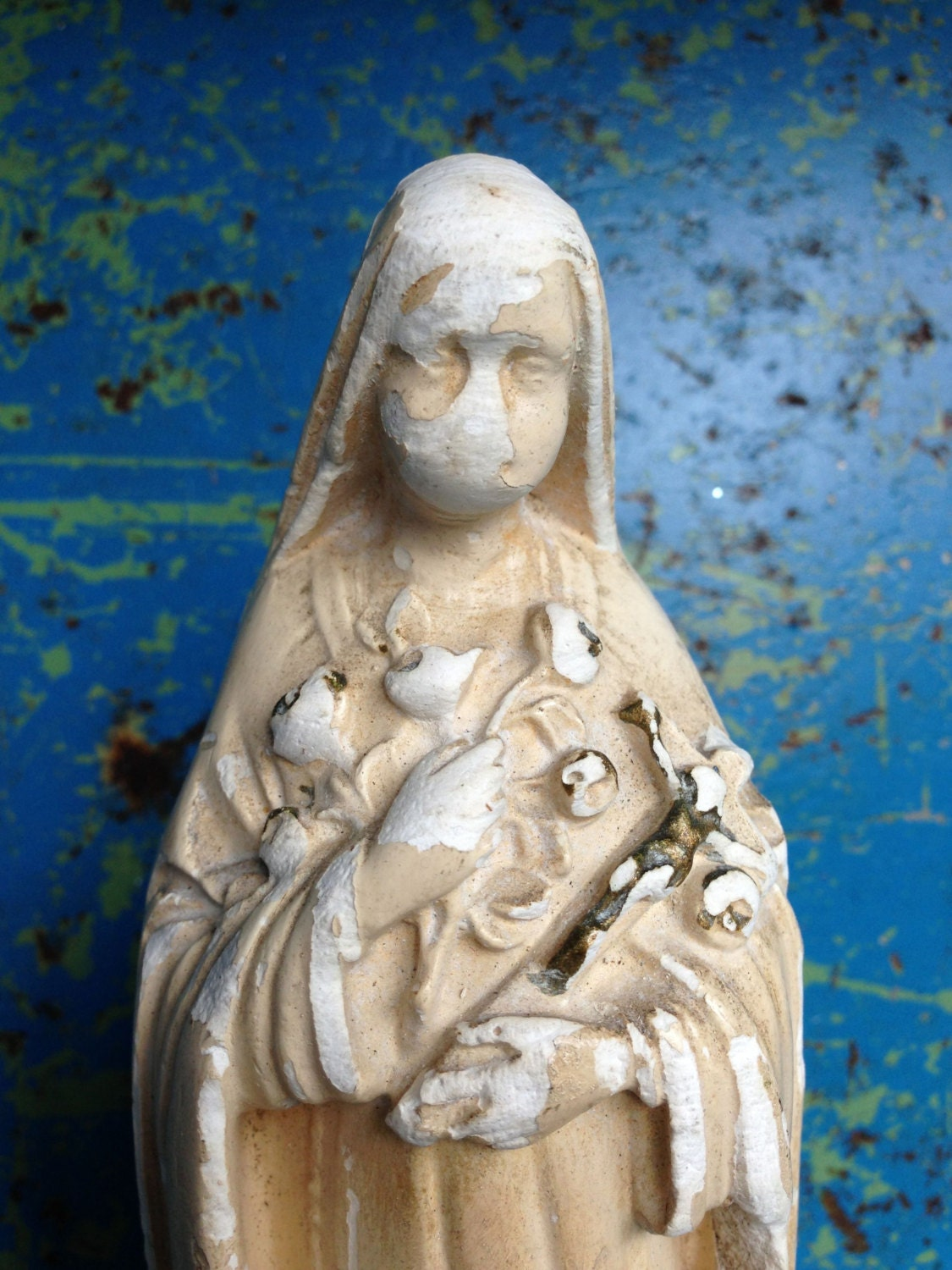 Vintage St Therese Statue Little Flower by VintageJunkInMyTrunk