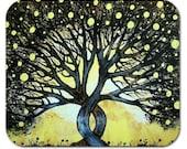 Mousepad Mouse Pad Fine Art Painting The Lemon Tree Yellow Black Lemons Silhouette Sky