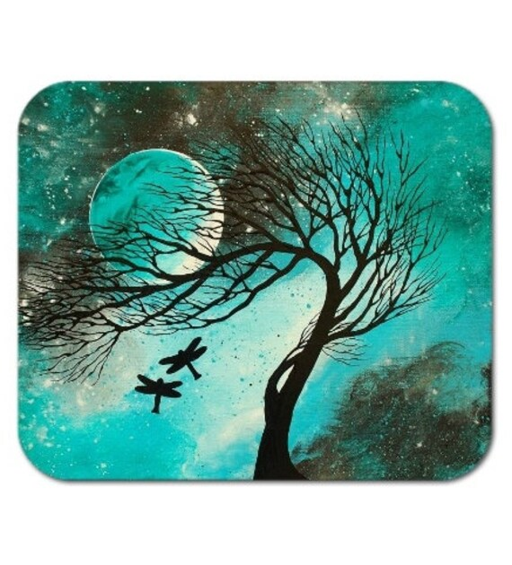 Mousepad Mouse Pad Fine Art Painting Dragonfly Bliss Aqua Teal Dragonflies Silhouettes Moon