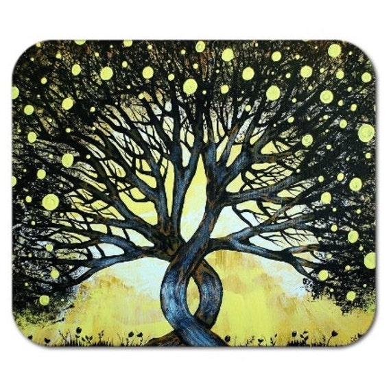 Mousepad Mouse Pad Fine Art Painting The Lemon Tree Yellow Black Lemons Silhouette Sky