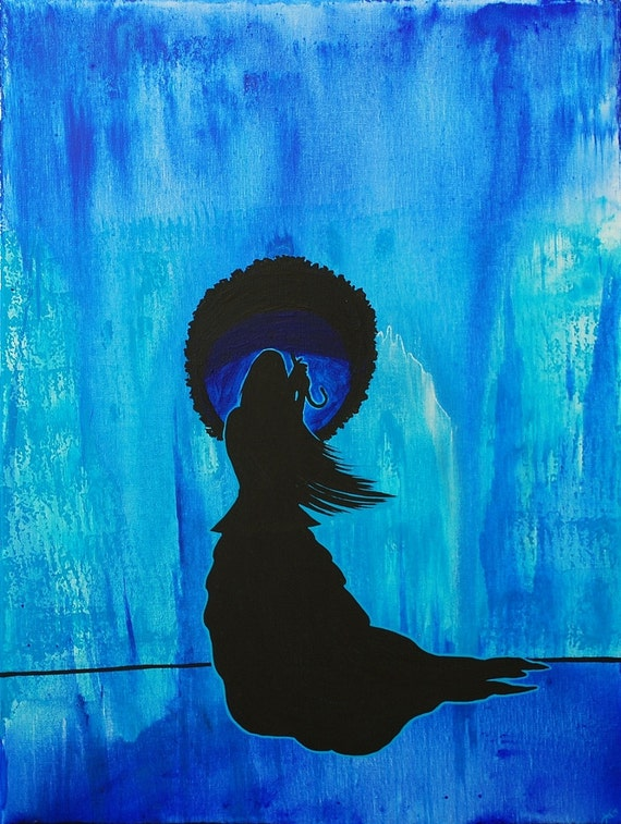 Fine Art Giclee Print of Original Painting Rainy September Amber Elizabeth Lamoreaux Blue Rain Victorian Woman Dress Silhouette