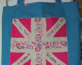 British Union jack market tote,blue linen shopping bag,lined,England patriotic market bag,British flag tote,applique bag, made by FRALINE