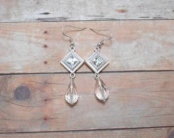 Clear Diamond Drop Glass Earrings - Clearance