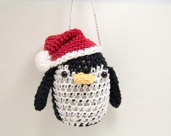 Penguin Christmas Ornament - Christmas Penguin with Santa Hat