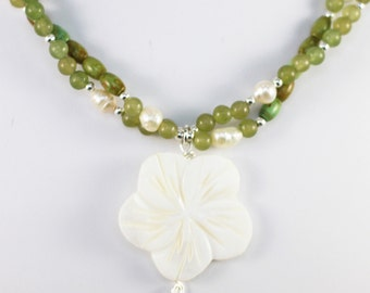 "Aventurine and Green Turquoise Multistrand necklace with carved flower shell pendant ""Mojito"""