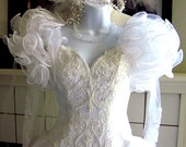 Vintage-1980s-White-Meringue-Wedding-Gown-White-Fluff-Pearls-Beads-S