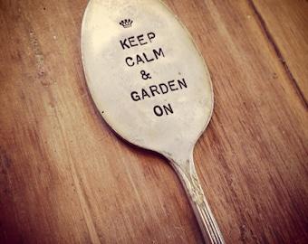 Vintage Silverware Garden Marker Keep Calm & Garden On Plant Stake Decor