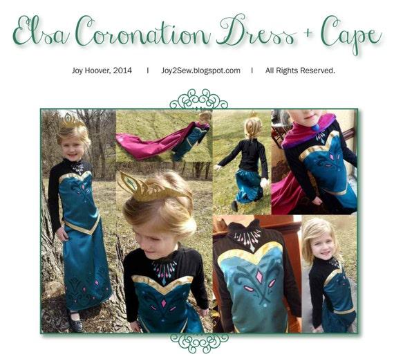Elsa Frozen Coronation Dress and Cape PDF Pattern