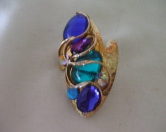 Gold Tone Brooch, Multi Colored Glass Stones, Vintage,  Handcrafted,