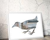 bird poster, bird silhouette in gray blue, 11x14 bird giclee print, slate blue bird illustration, whimsical animal print scandinavian design