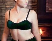 Wintergreen Emerald Velvet Bra & High Waist Panties Lingerie Set Handmade to Order