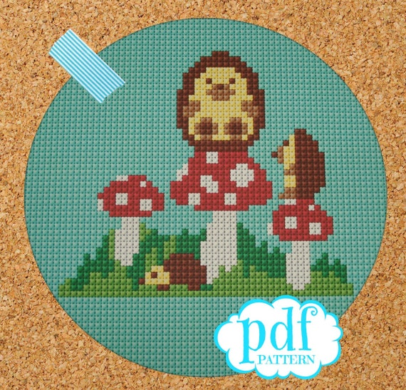 Hedgehog & Mushroom cross stitch, needlepoint, tapestry pattern. PDF, instant digital download,epattern. Woodland creature