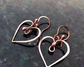 Hammered Organic Copper Earrings SWIRLY HEART  * * * Free Shipping (U.S.)