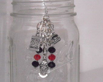 Pirate Earrings Sterling Silver Wires, Pewter Charms, Black and Red Swarovski Crystals Pirate Jewelry Nautical Beach Jewelry