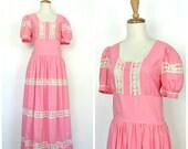 1960s Dress - boho maxi -...