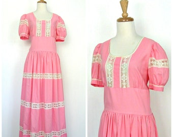 1960s Dress - boho maxi - pink dress - tea length - cotton summer dress - gypsy - bridal dress - Medium