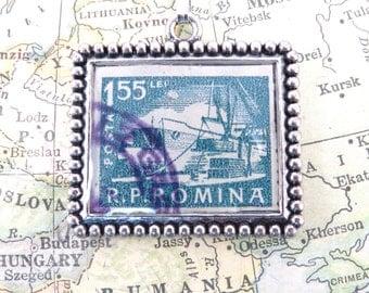 Vintage Romania Postage Stamp Necklace Pendant Key Ring
