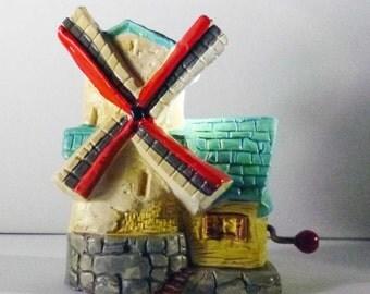 Folk Music Box Windmill Figurine Vintage