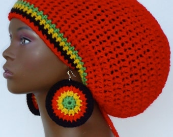 Cherry Red Crochet Large Tam Hat Cap with Drawstring and Earrings Dreadlocks by Razonda Lee Razondalee Made to Order