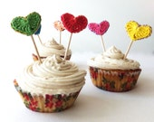 Hearts cupcake topper - 1st birthday decoration - kids birthday cupcake toppers - party decoration -  crochet hearts - set of 6
