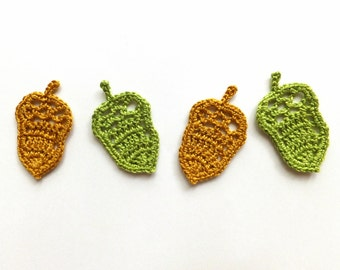 Acorns applique - fall decor - crochet acorn embellishment - autumn applique - woodland decoration - thanksgiving decor - set of 4