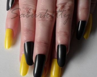 Yellow Black Nail Blanks w/Glue + Studs DIY Kit Long Almond Style length nails full coverage fake fingernail tips mixed match set Pittsburgh