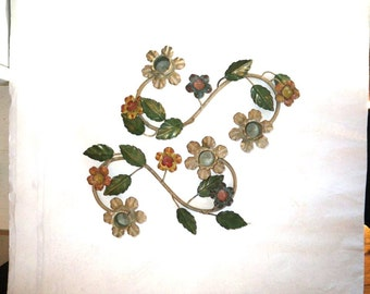 Italian Painted Tin Candle Holders - Flowers Leaves and Vines