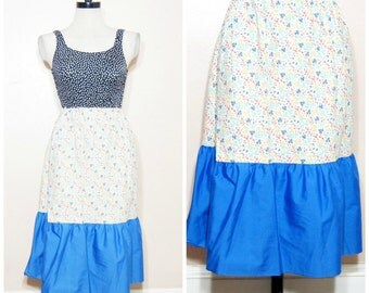 60s Floral Skirt Small Medium Hippie Boho Rustic Midi Skirt Ruffle
