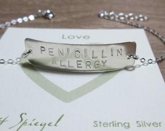 PENICILLIN ALLERGY Medical Bracelet (Taller Bar) HandStamped Silver Medical Alert Bracelet Personalized Medical Bracelet Medical jewelry