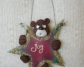 Bear on a star - pattern by Monica Spicer - FREE SHIPPING