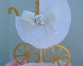 Baby Carriage Cake Lace Baby shower cake topper