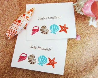 Shell Note Cards, Personalized Beach Note Cards, Monogrammed/Beach Wedding/Engagement/Shells and Starfish/Coral, Aqua/Set of 10, Blank Cards