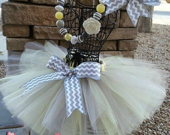 CHIC CHEVRON- Soft Yellow and Grey Chevron tutu with hairbow:  Newborn-5T