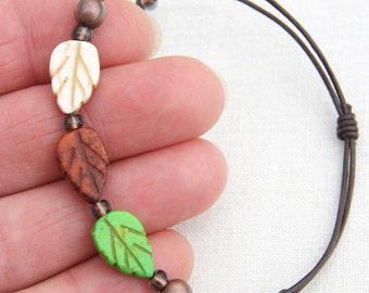 Minimal Bracelet, Woodland Leaf Boho Leather Bracelet, Stackable Bracelet, White Green Brown Turquoise Bracelet, Nature Bracelet