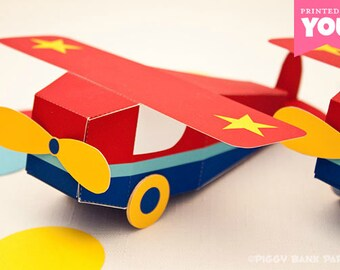 Go Airplane Favor Box : DIY Printable Toy Plane PDF - Instant Download