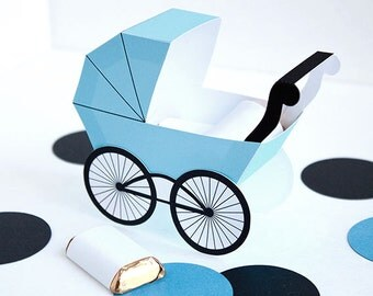 Baby Carriage Favor Box - Baby Blue : DIY Printable Baby Buggy Gift Box | Pram | Baby Boy | Baby Shower Favor - Instant Download