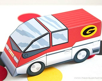 GoGo Mobile Favor Box : DIY Printable Cartoon Detective Vehicle Gift Box | Inspector Gadget Birthday | Private Eye - Instant Download
