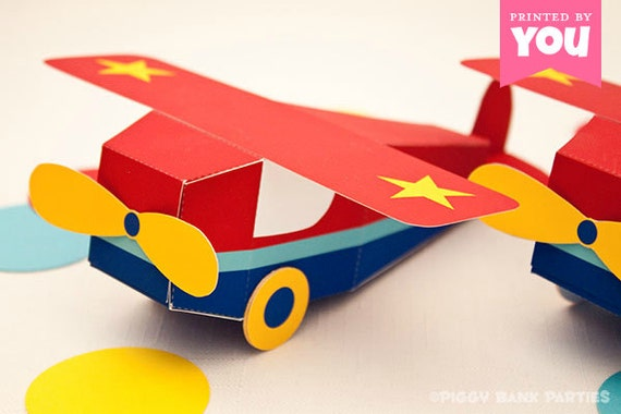 Go Airplane Favor Box Print At Home Toy Plane FullColor - Box paper airplane