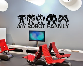Vinyl Wall Decal Sticker My Robot Family 5148B