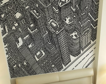 Vinyl Wall Decal Sticker Top of Buildings Line Art 5253s