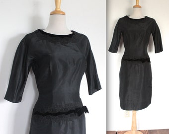 Vintage 1950s Dress // 50s Designer Black Taffeta Cocktail Dress with Velvet and Lace // Harmay NY